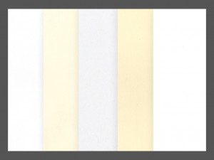 Pindot Press papers. Left to right: White, Natural, Recycled White, Ivory, Eggshell White