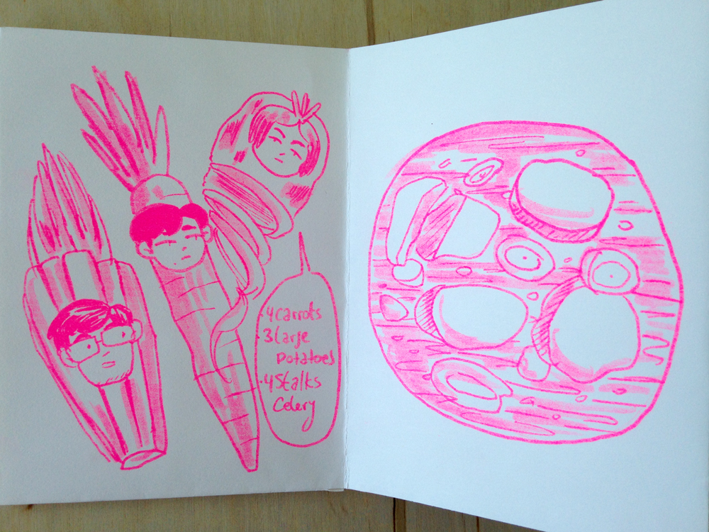 "Pages from Sofi Gutierrez's zine, ""Sobremesa"""